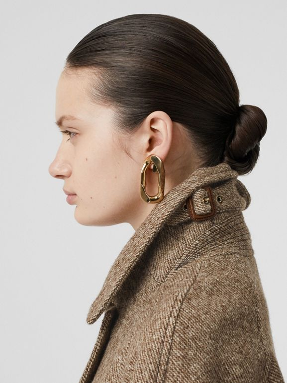 Scarf Detail Wool Mohair Tweed Car Coat in Dark Cheshnut Brown - Women | Burberry - cell image 1