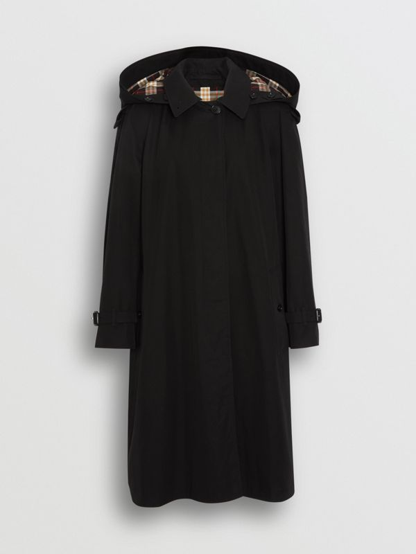 Car coat in gabardine tropicale con cappuccio amovibile (Nero) - Donna | Burberry - cell image 3