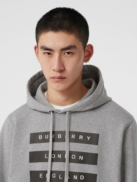 Tape Print Cotton Hoodie in Pale Grey Melange - Men | Burberry United Kingdom - cell image 1