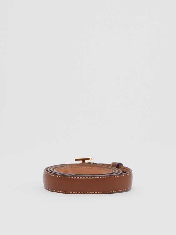 Monogram Motif Topstitched Leather Belt in Tan/light Gold - Women | Burberry United Kingdom - cell image 3