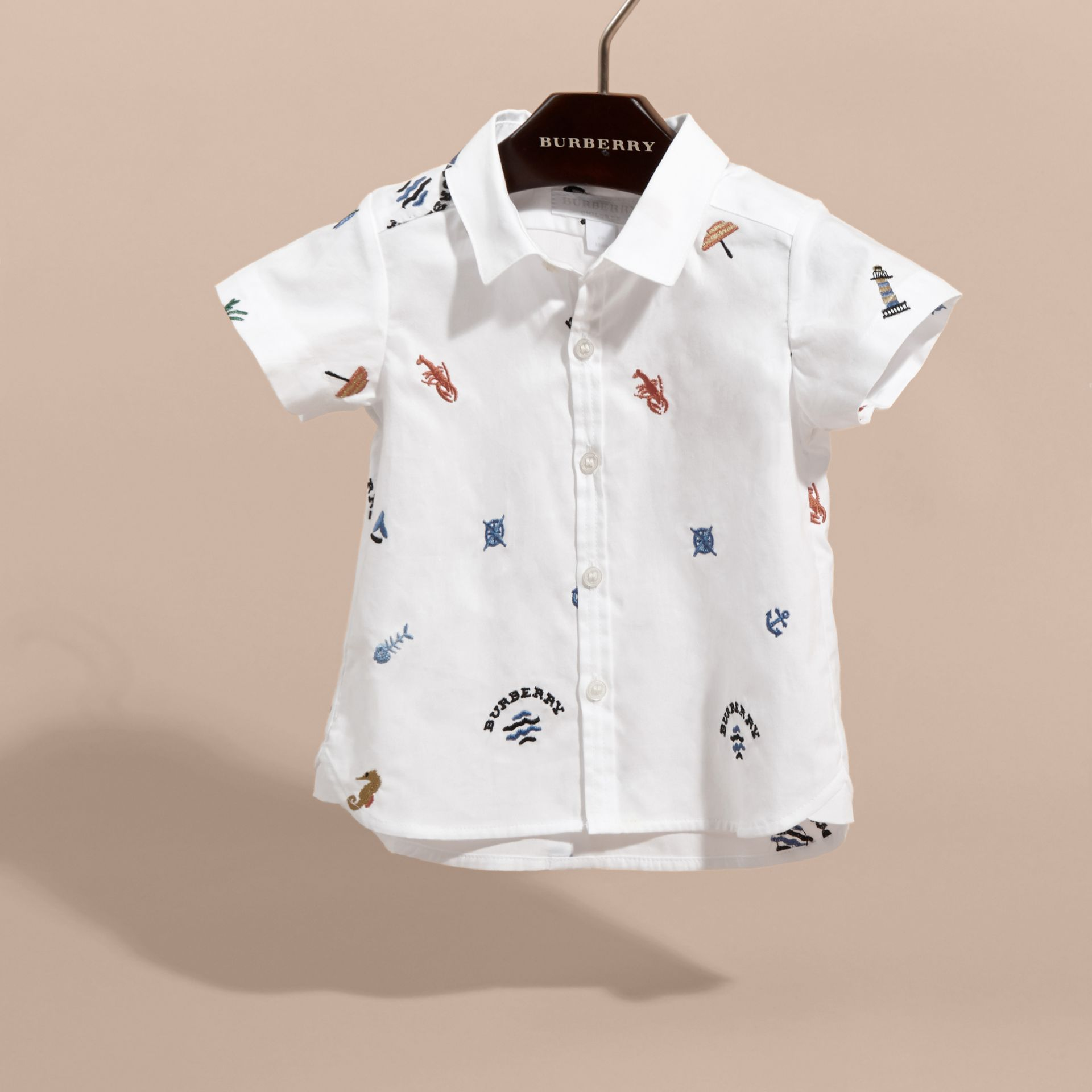 Embroidered Nautical Motif Cotton Oxford Shirt in White | Burberry - gallery image 3