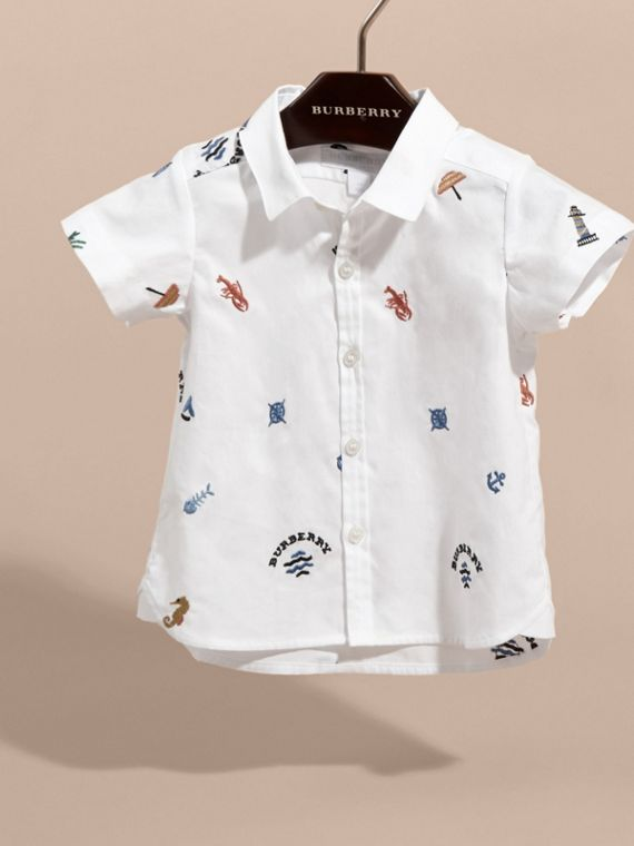 Embroidered Nautical Motif Cotton Oxford Shirt in White | Burberry - cell image 2