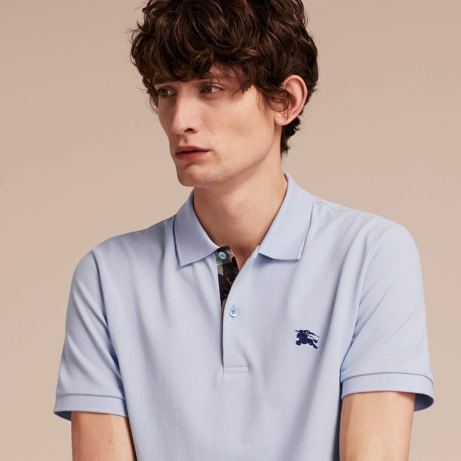Printed Check Placket Cotton Piqué Polo Shirt - gallery image 5