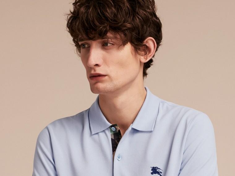 Printed Check Placket Cotton Piqué Polo Shirt - cell image 4