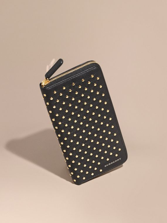 Studded Leather Ziparound Wallet