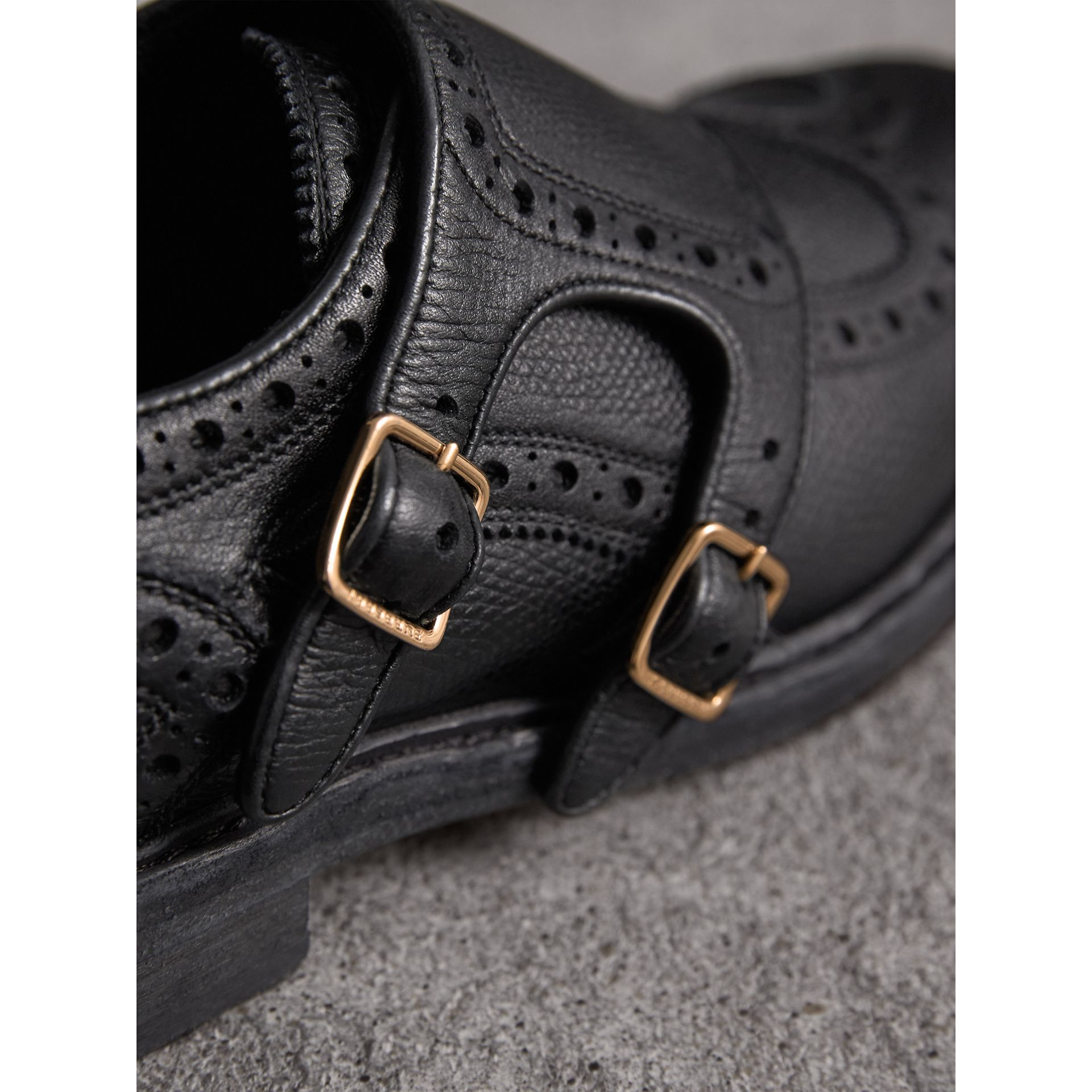 Brogue Detail Textured Leather Monk Shoes in Black - Women | Burberry - gallery image 2
