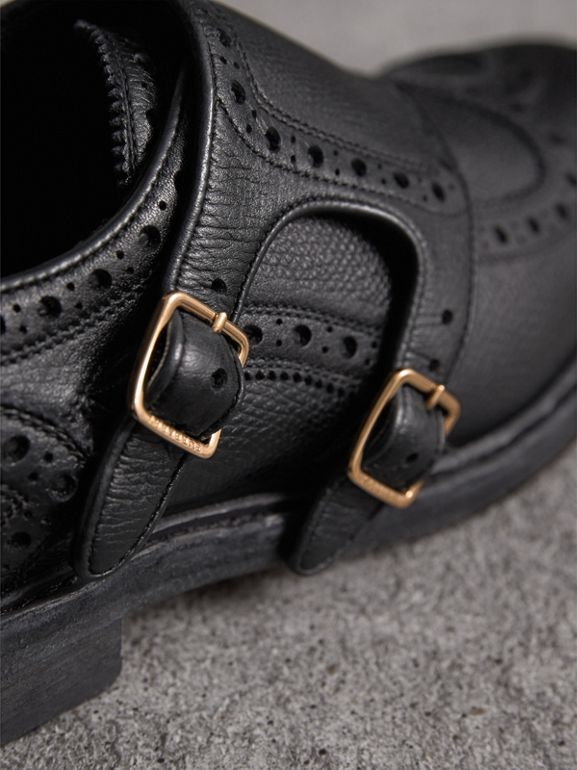 Brogue Detail Textured Leather Monk Shoes in Black - Women | Burberry - cell image 1
