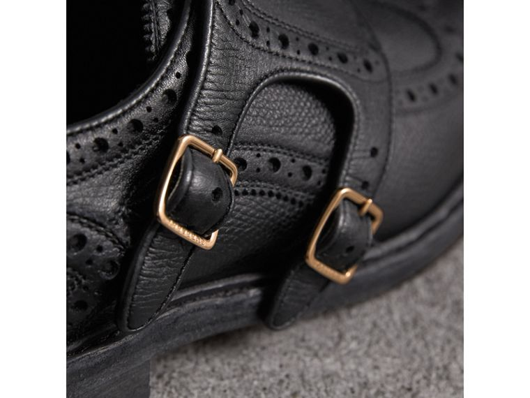 Brogue Detail Textured Leather Monk Shoes in Black - Women | Burberry United Kingdom - cell image 1
