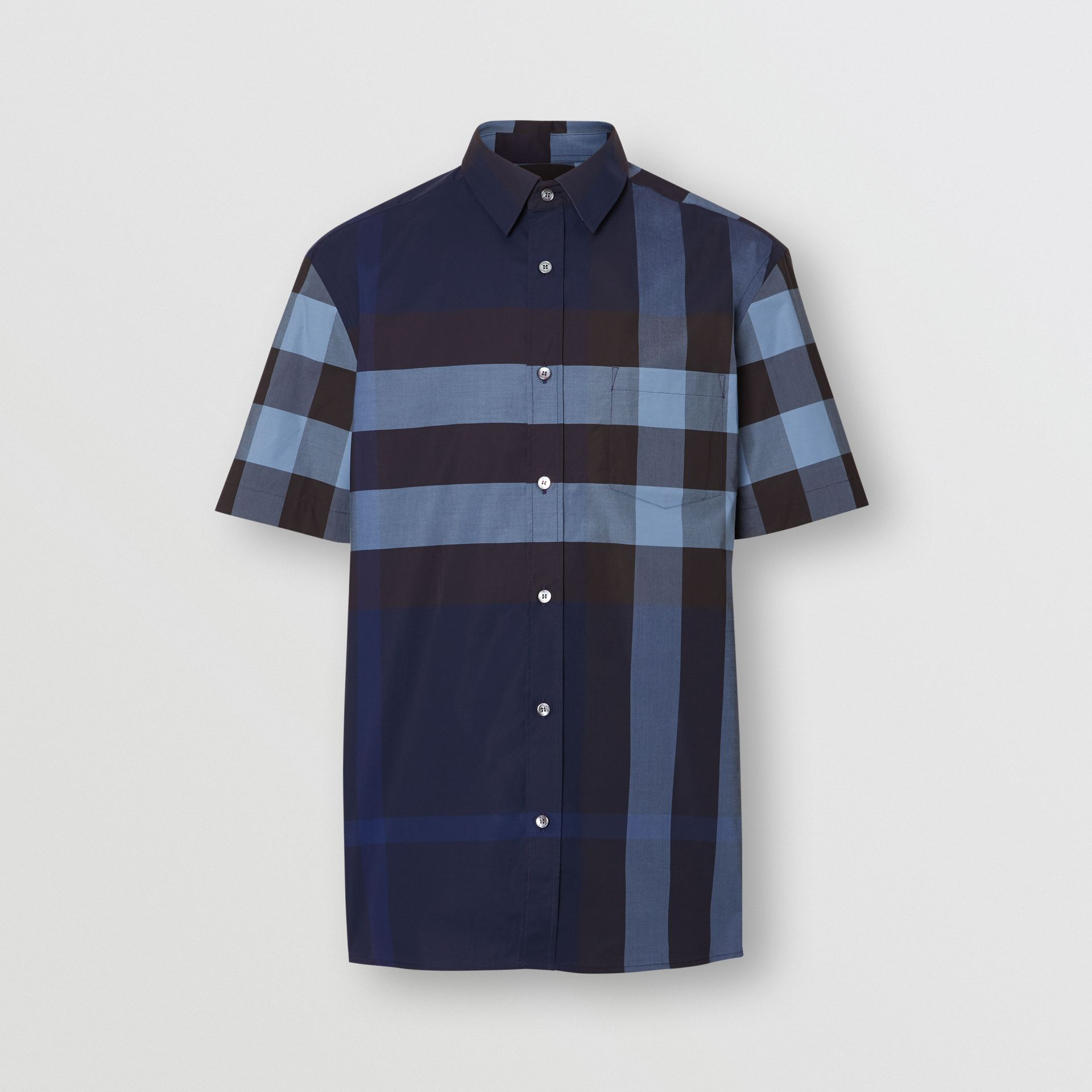 Short-sleeve Check Stretch Cotton Shirt in Bright Navy - Men | Burberry Australia - gallery image 3