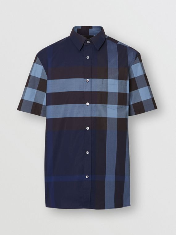 Short-sleeve Check Stretch Cotton Shirt in Bright Navy