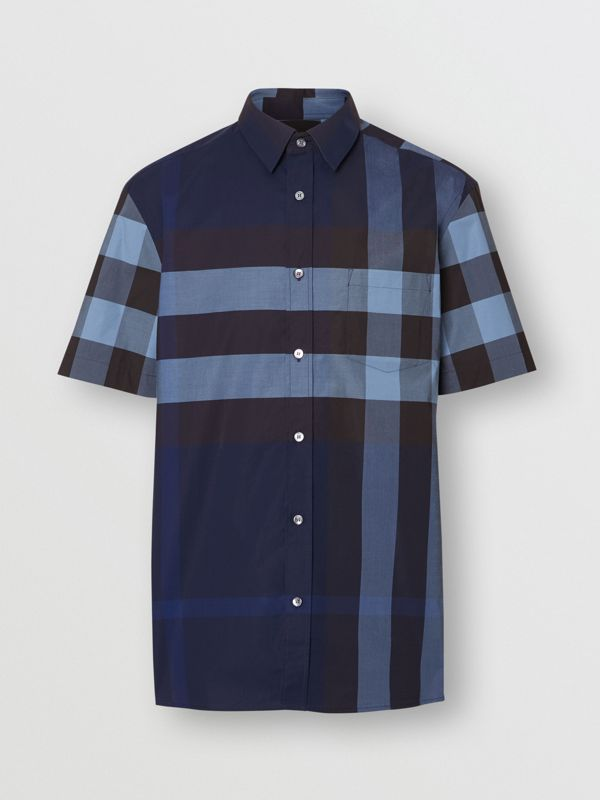 Short-sleeve Check Stretch Cotton Shirt in Bright Navy - Men | Burberry - cell image 3