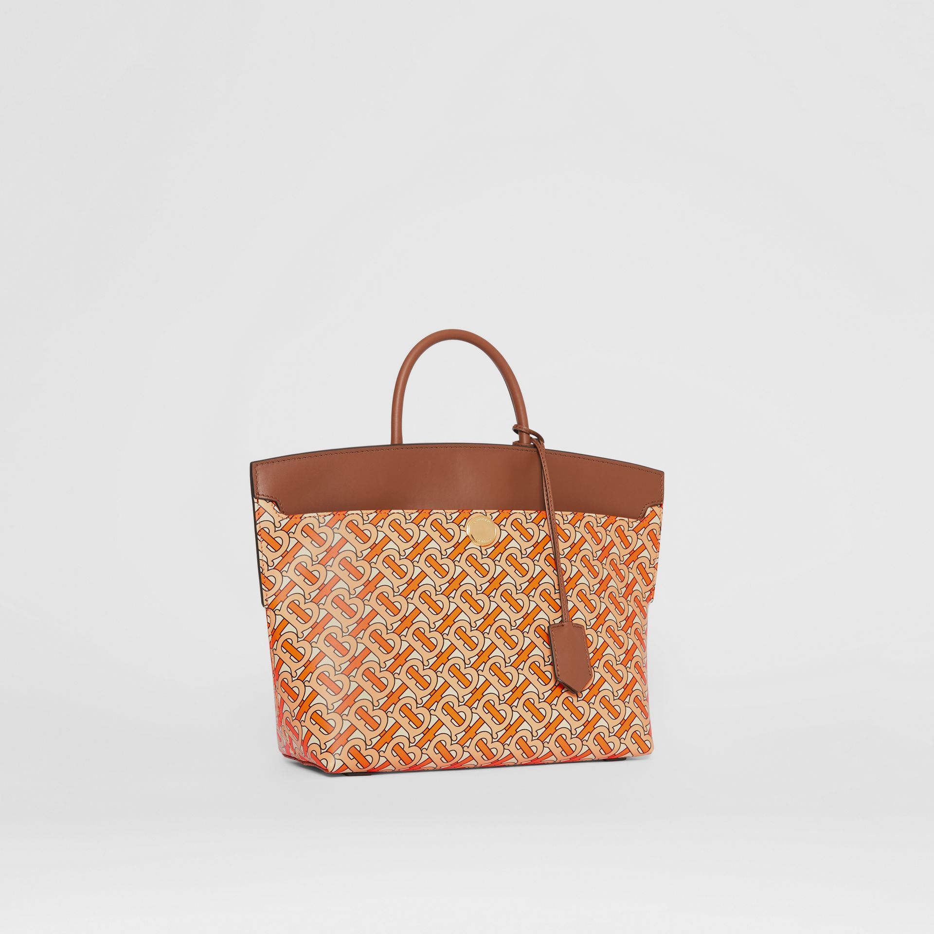 Small Monogram Print Leather Society Top Handle Bag in Bright Orange - Women | Burberry - gallery image 6