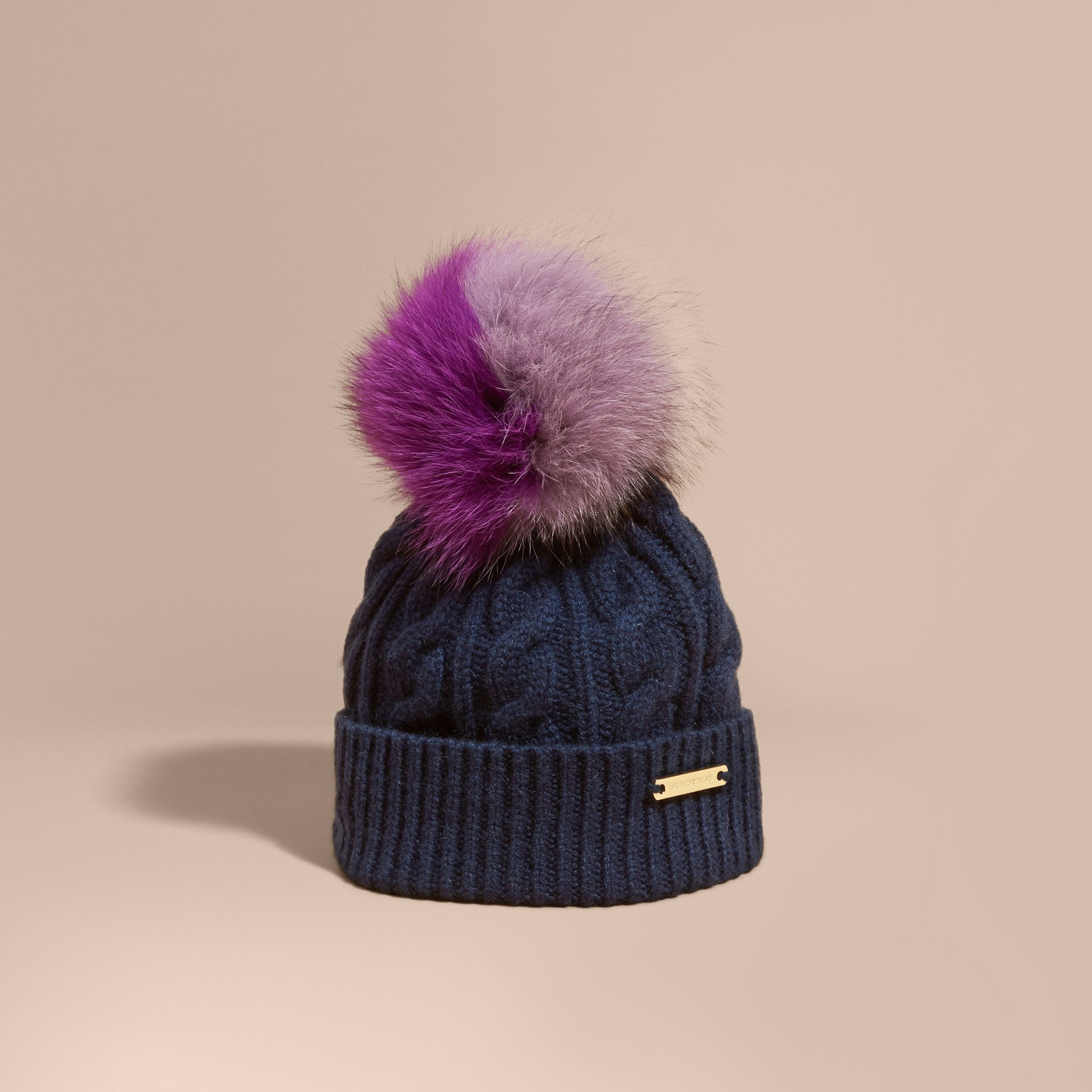 Wool Cashmere Beanie with Fur Pom-Pom in Navy - gallery image 1