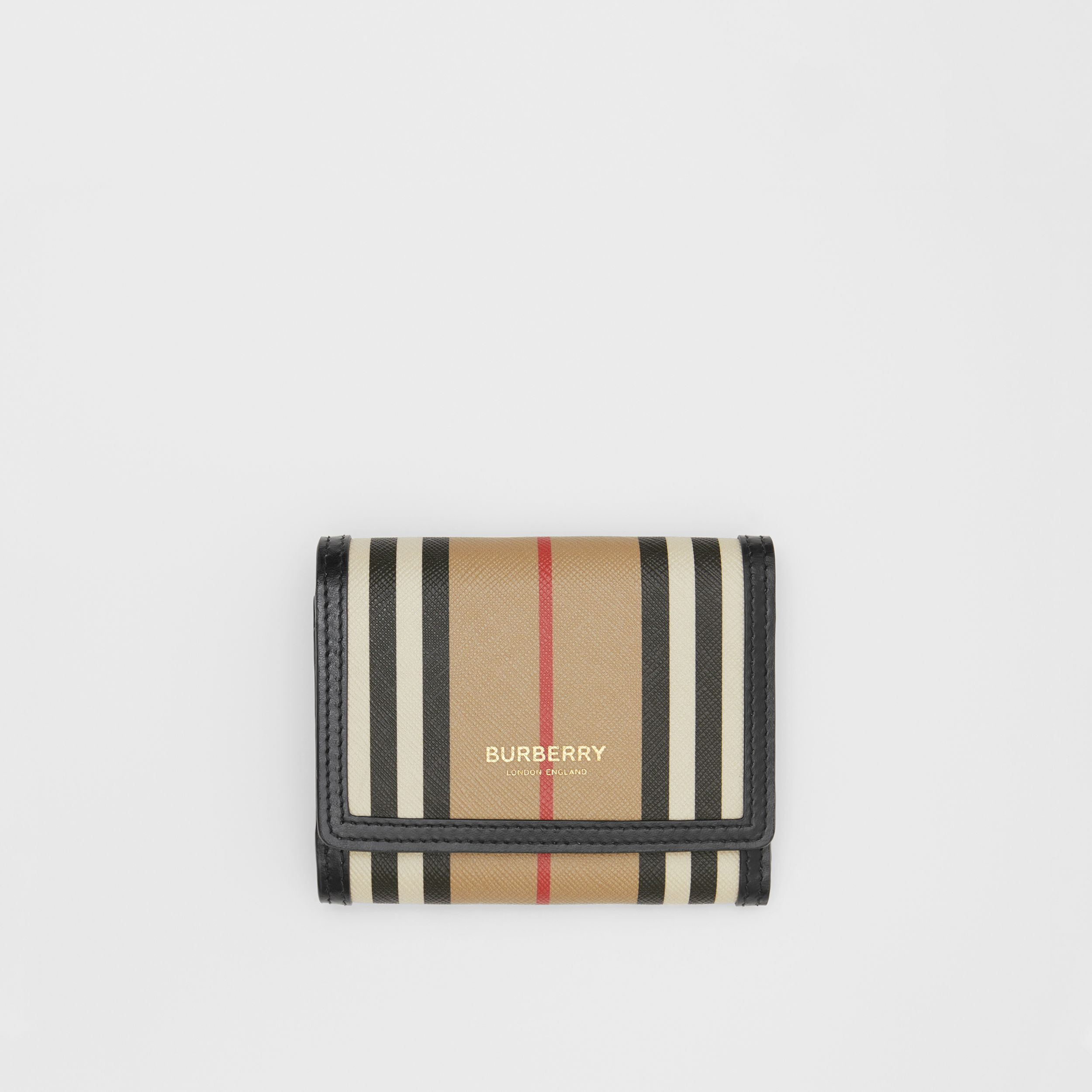 Small Icon Stripe E-canvas Folding Wallet in Archive Beige | Burberry - 1