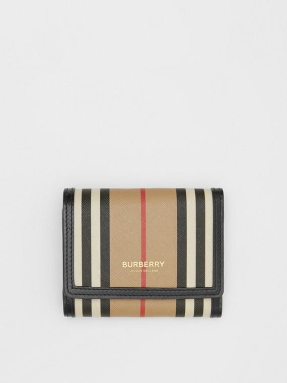 Petit portefeuille à rabat en toile écologique à rayures iconiques (Beige D'archive)