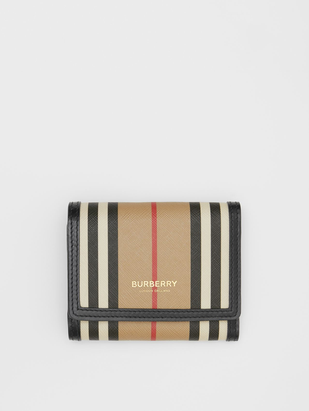 Small Icon Stripe E-canvas Folding Wallet in Archive Beige