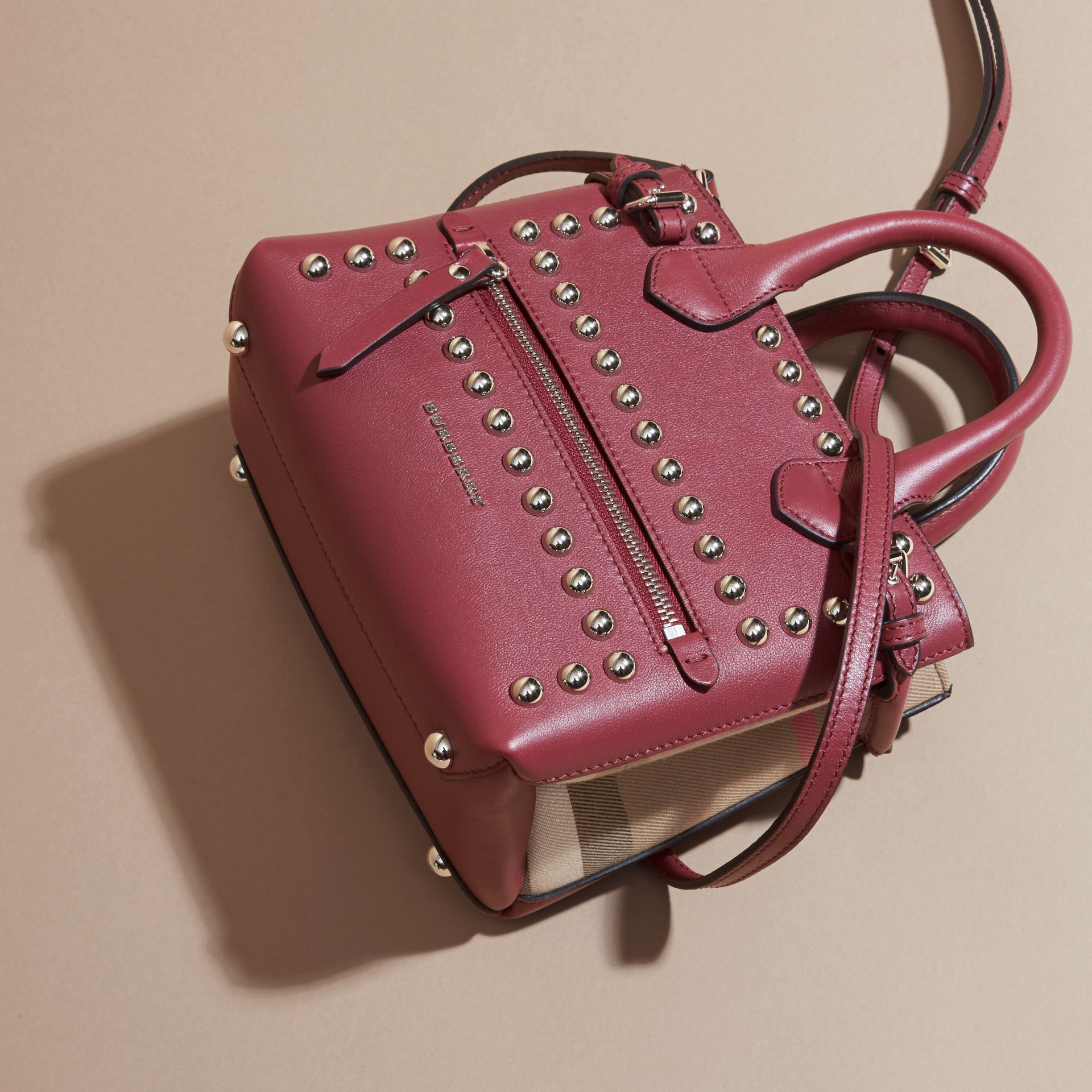 Garnet pink The Baby Banner in Studded Leather and House Check - gallery image 7