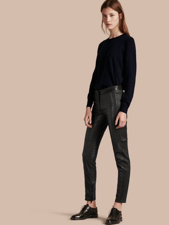 Panelled Lambskin Trousers in Black