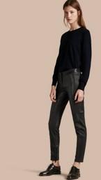 Panelled Lambskin Trousers