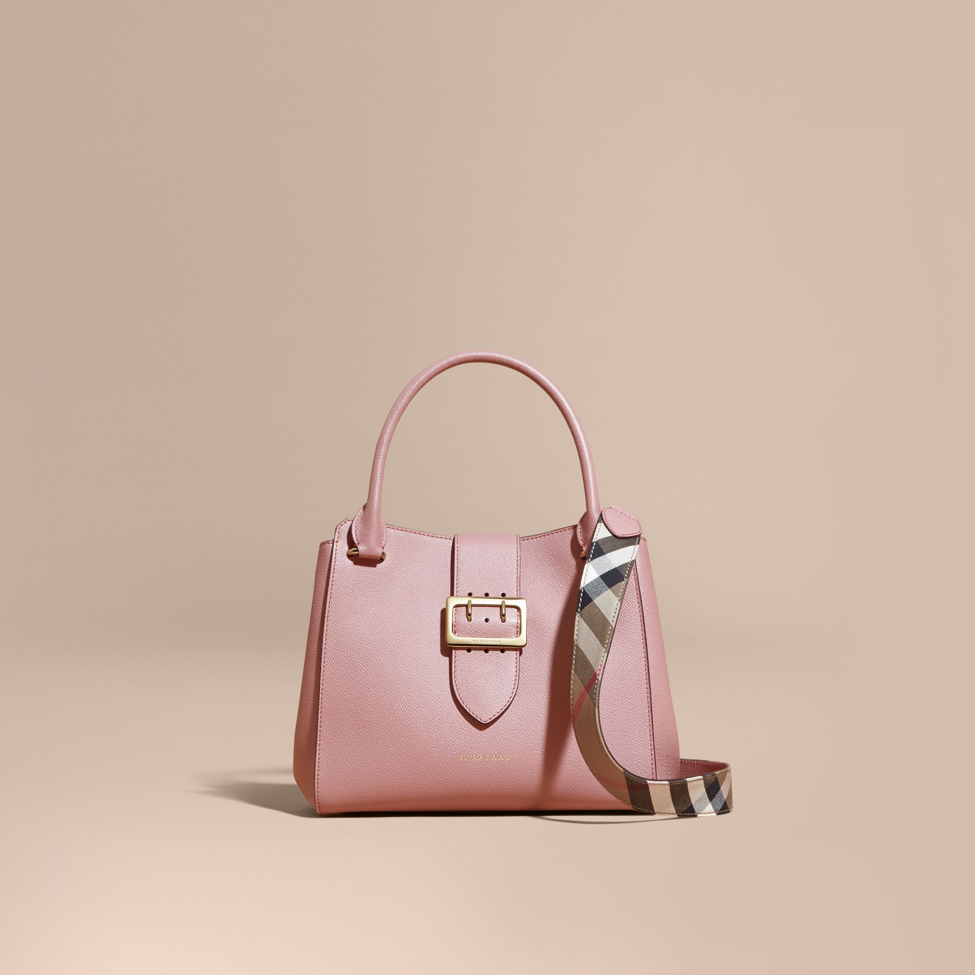 The Medium Buckle Tote in Grainy Leather in Dusty Pink - gallery image 9