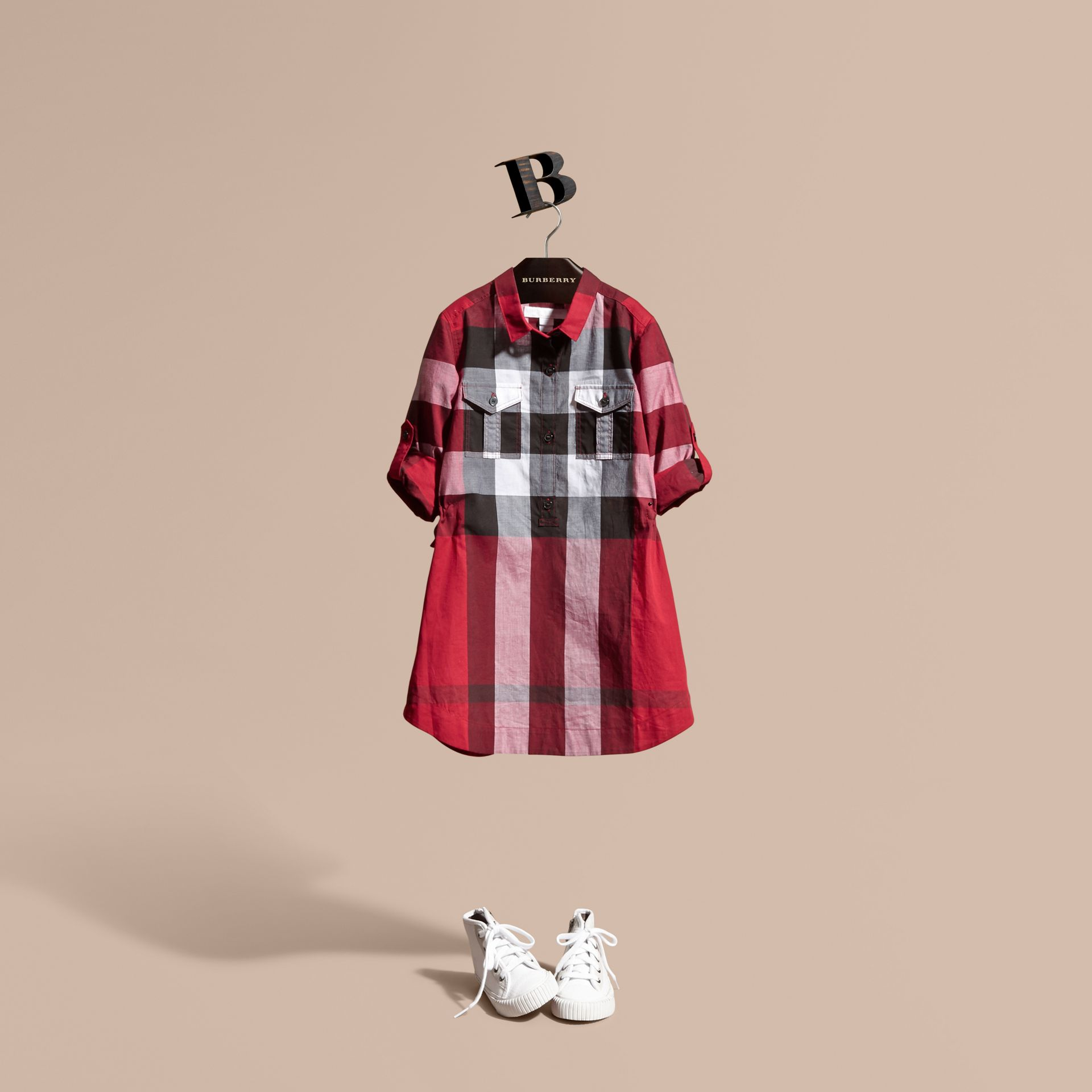 Check Cotton Shirt Dress Parade Red - gallery image 1