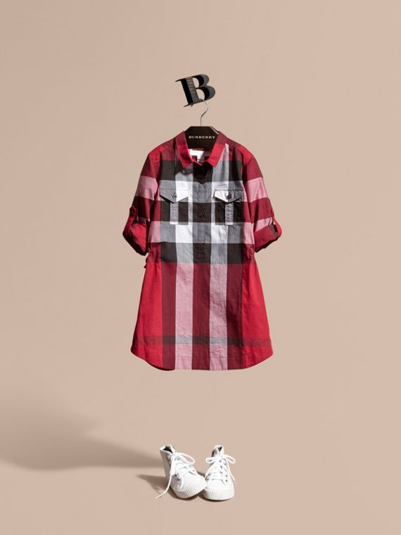 Check Cotton Shirt Dress Parade Red