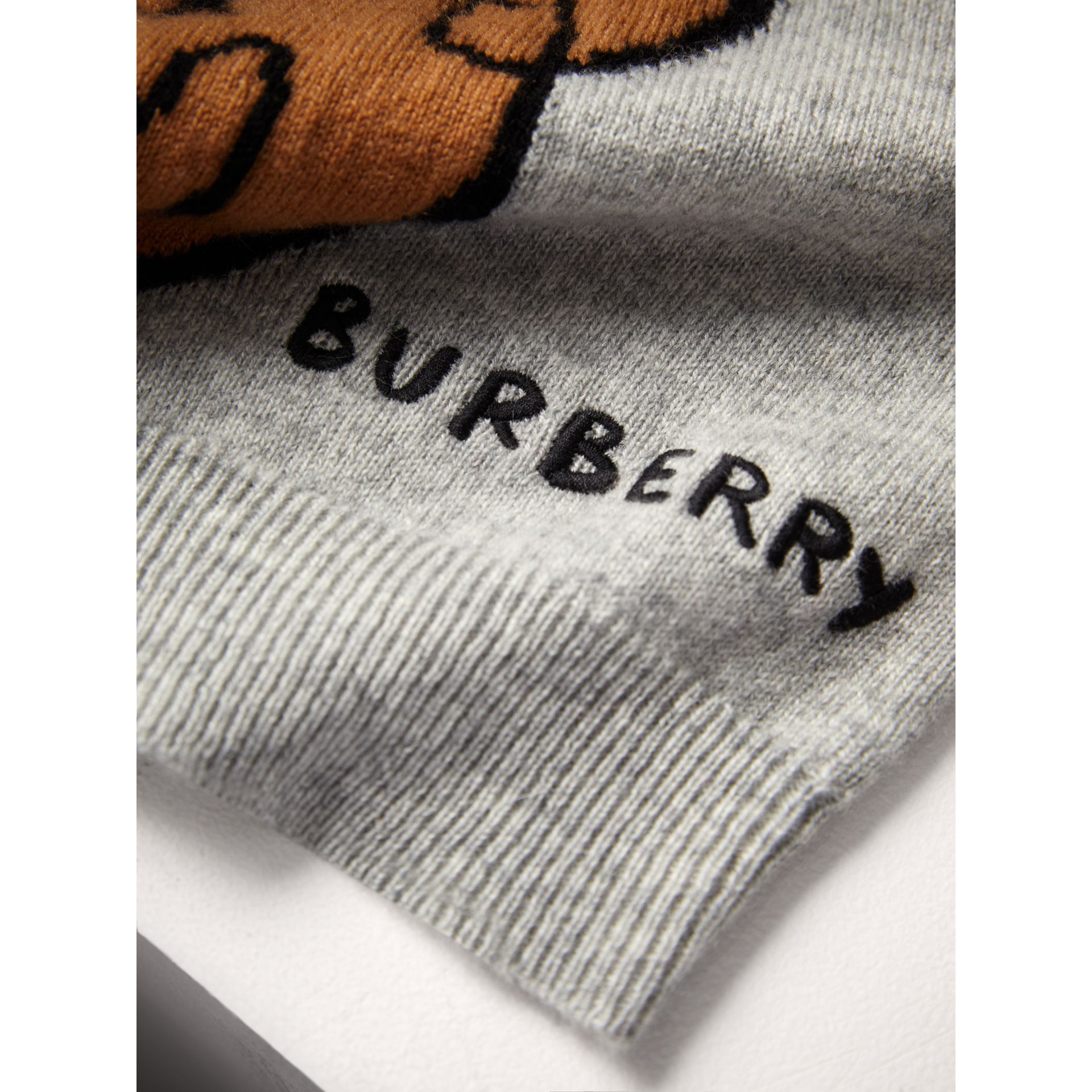 London Icons Intarsia Cashmere Sweater in Grey Melange - Boy | Burberry United Kingdom - gallery image 1
