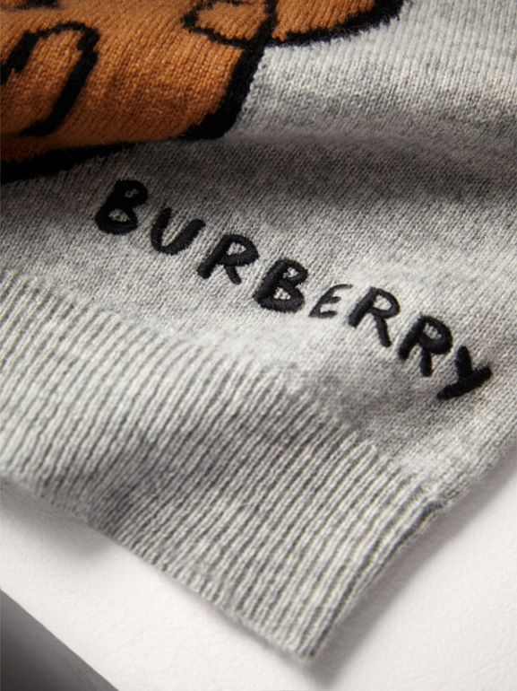 London Icons Intarsia Cashmere Sweater in Grey Melange | Burberry - cell image 1