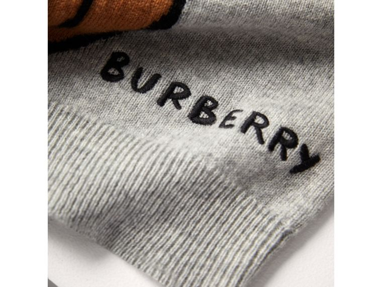 London Icons Intarsia Cashmere Sweater in Grey Melange - Boy | Burberry United Kingdom - cell image 1