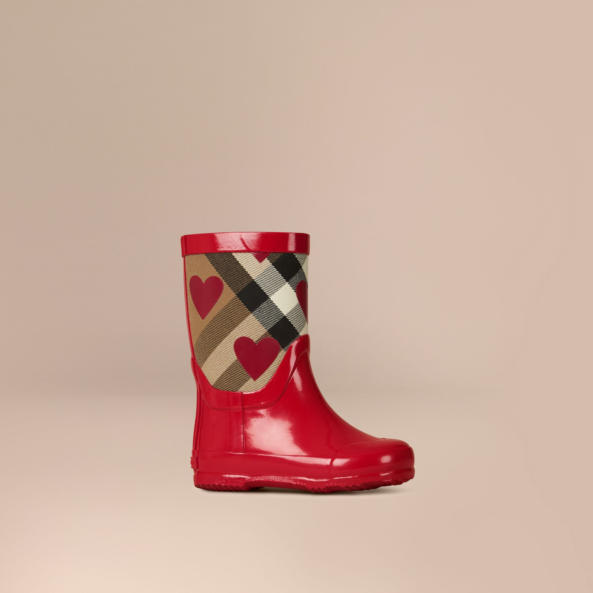 Military red Heart Print House Check Rain Boots - gallery image 1