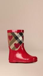 Heart Print House Check Rain Boots