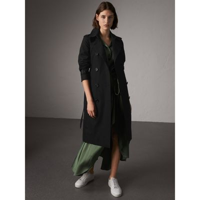 Kensington Mid-Length Heritage Cotton Trench Coat in Black