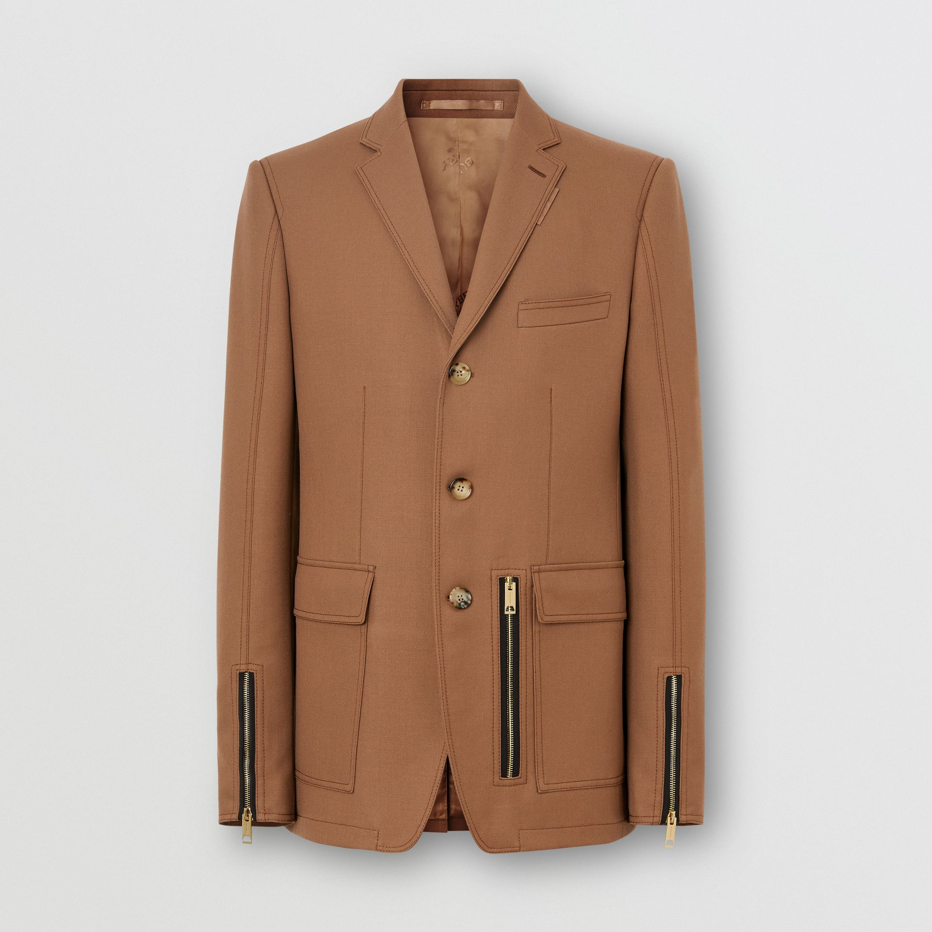 English Fit Zip Detail Wool Tailored Jacket in Dark Walnut - Men | Burberry United Kingdom - gallery image 3