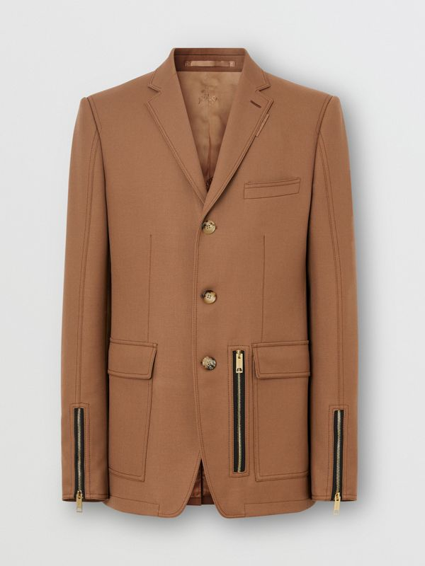 English Fit Zip Detail Wool Tailored Jacket in Dark Walnut - Men | Burberry - cell image 3