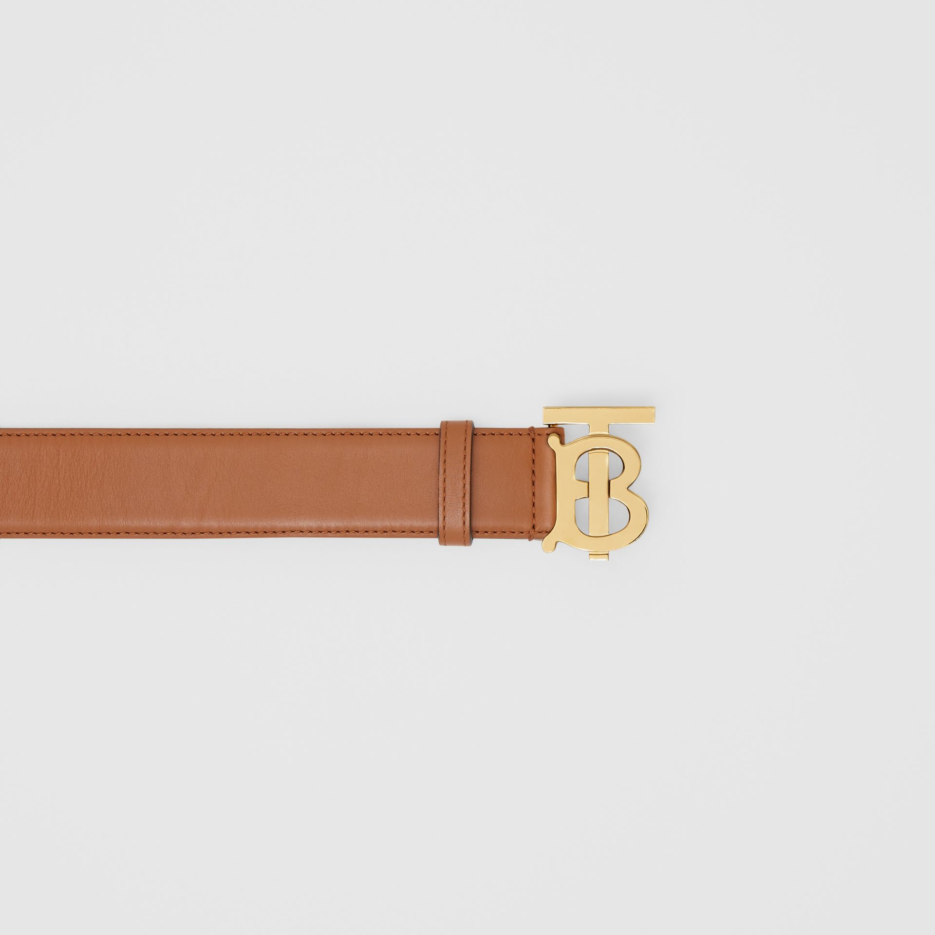 Monogram Motif Leather Belt in Tan - Women | Burberry - gallery image 1