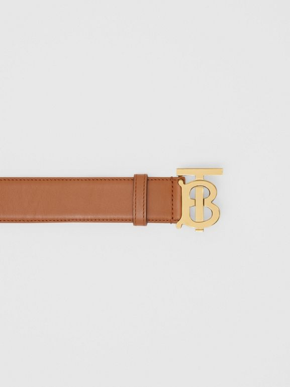 Monogram Motif Leather Belt in Tan - Women | Burberry United States - cell image 1