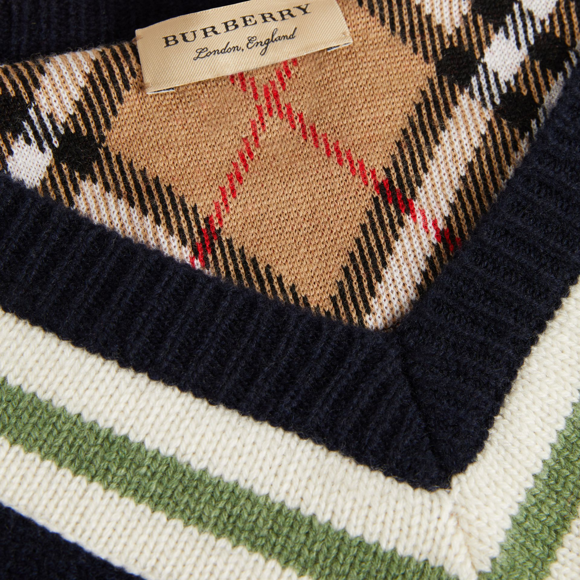 Embroidered Crest Wool Cashmere Sweater in Navy - Women | Burberry Canada - gallery image 6