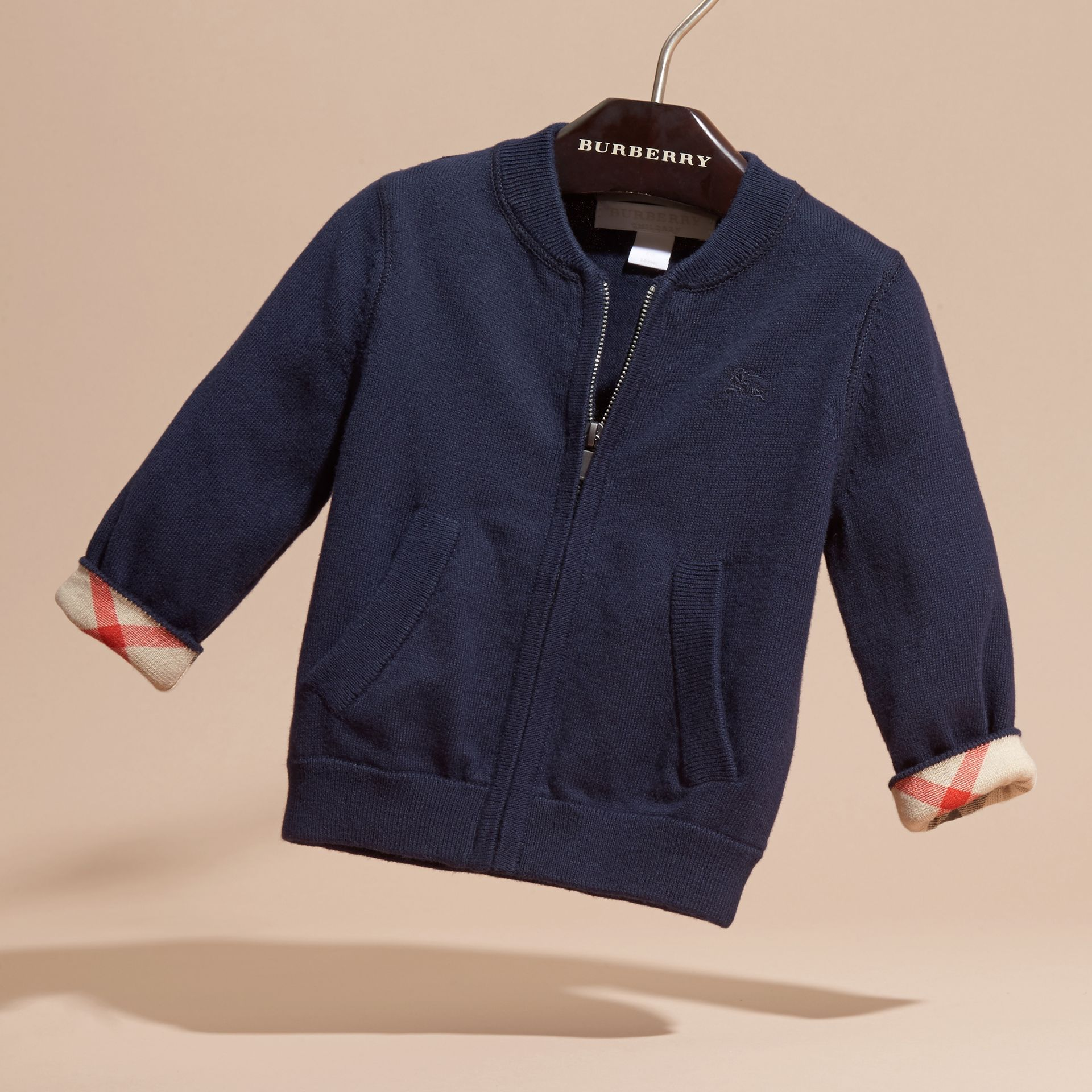 Check Detail Cotton Cardigan in Navy | Burberry - gallery image 2