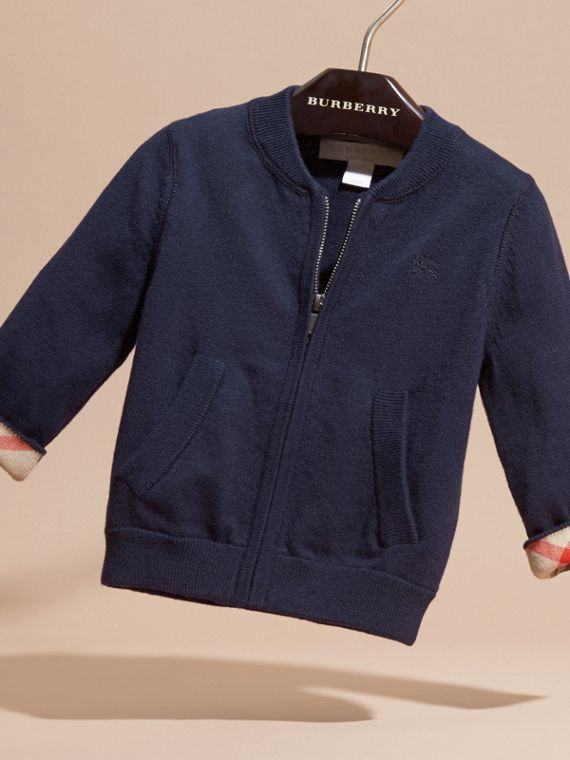 Check Detail Cotton Cardigan in Navy | Burberry - cell image 2