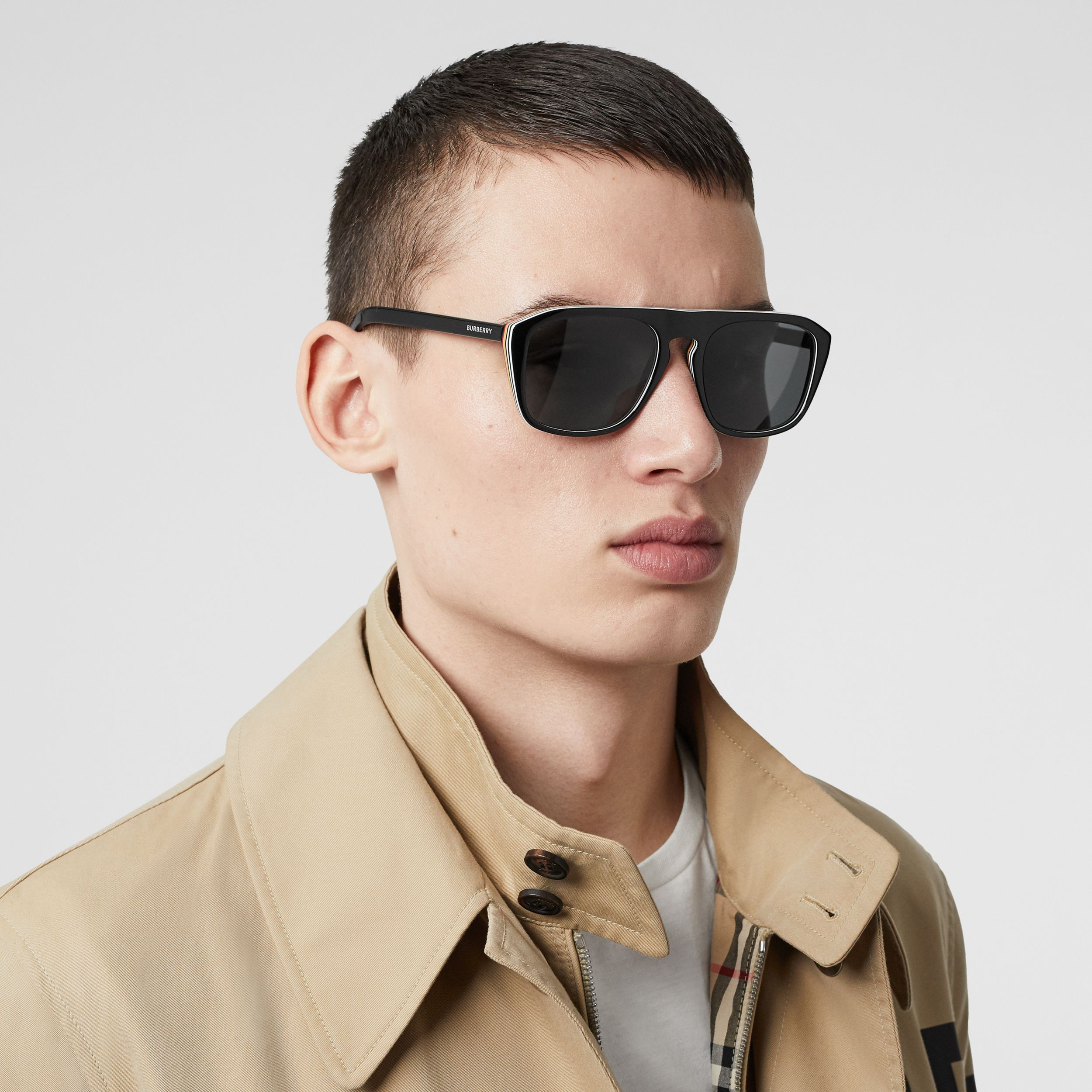 Icon Stripe Detail Square Frame Sunglasses in Black - Men | Burberry Hong Kong S.A.R. - 3