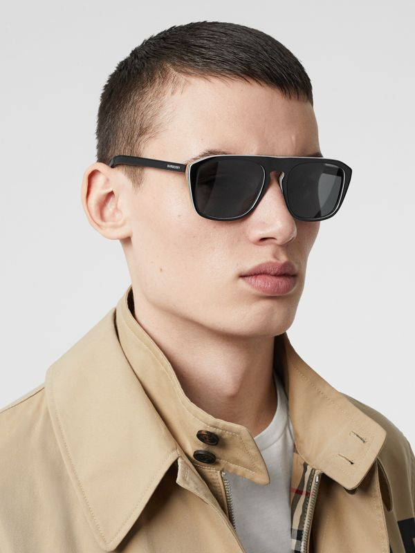 Icon Stripe Detail Square Frame Sunglasses in Black - Men | Burberry Canada - cell image 2