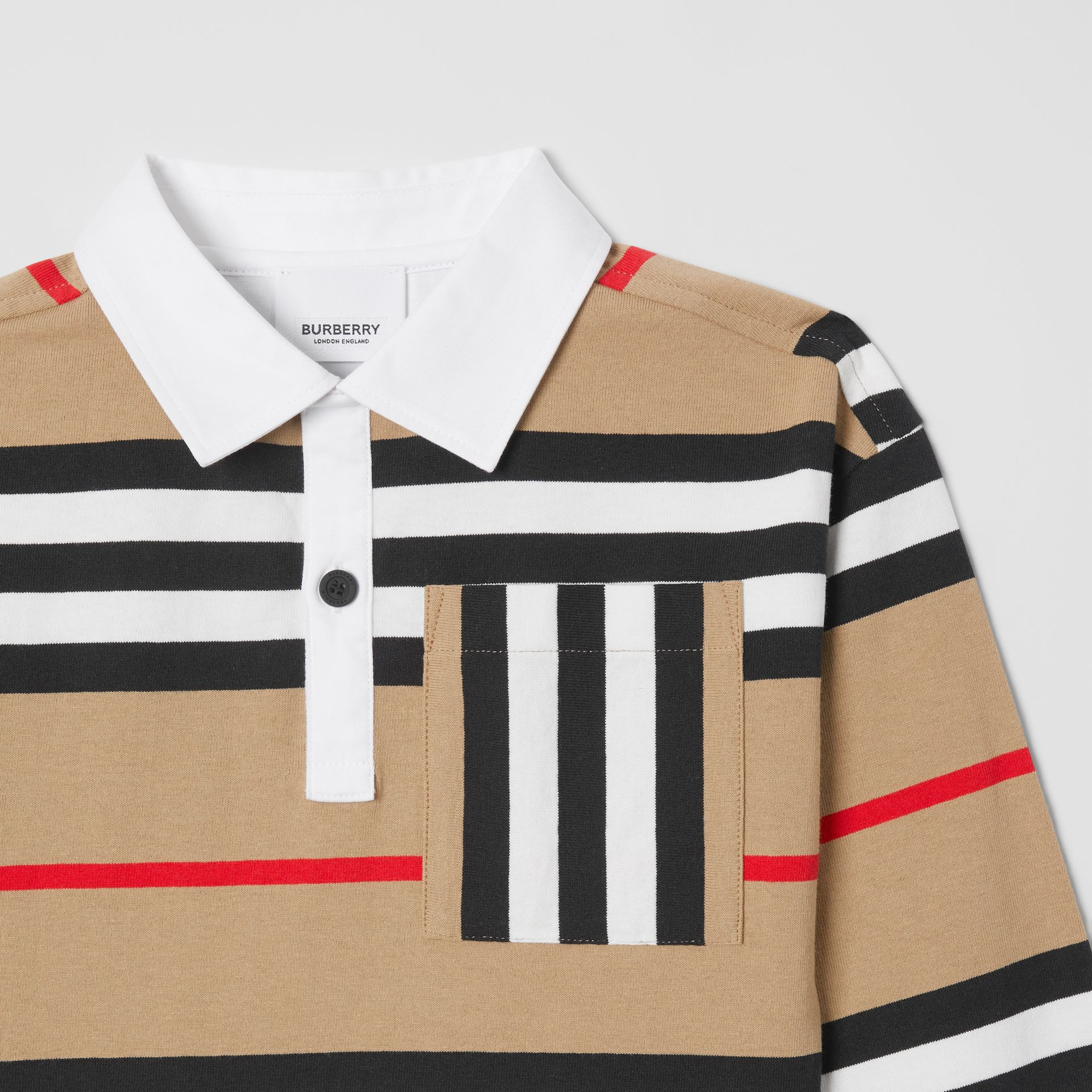 Long-sleeve Icon Stripe Cotton Top in Archive Beige | Burberry United Kingdom - gallery image 4