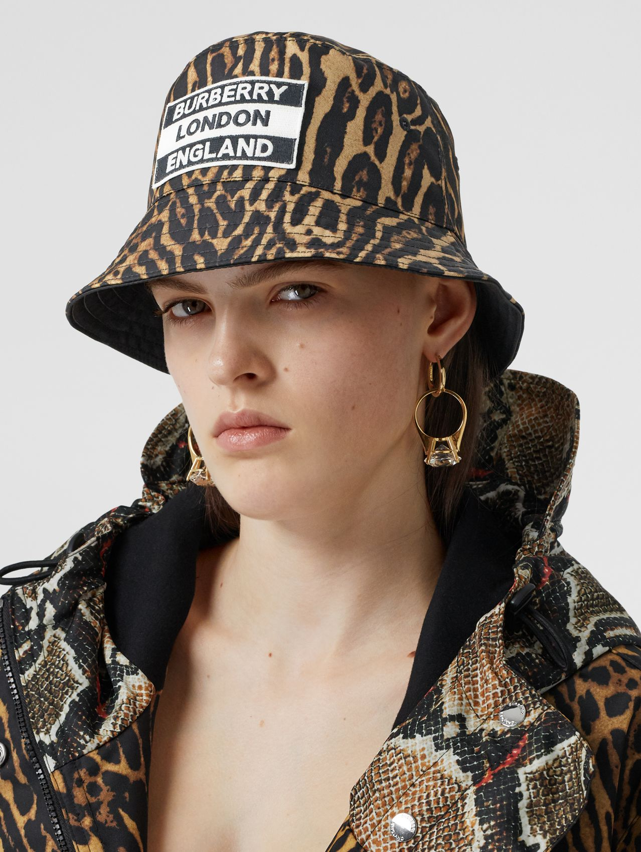 Reversible Logo Appliqué Leopard Print Bucket Hat