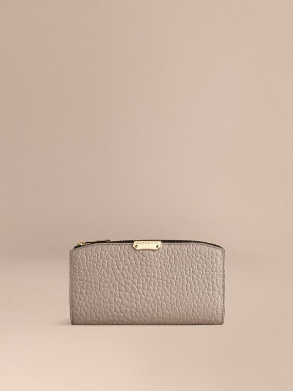 Signature Grain Leather Ziparound Wallet Pale Grey