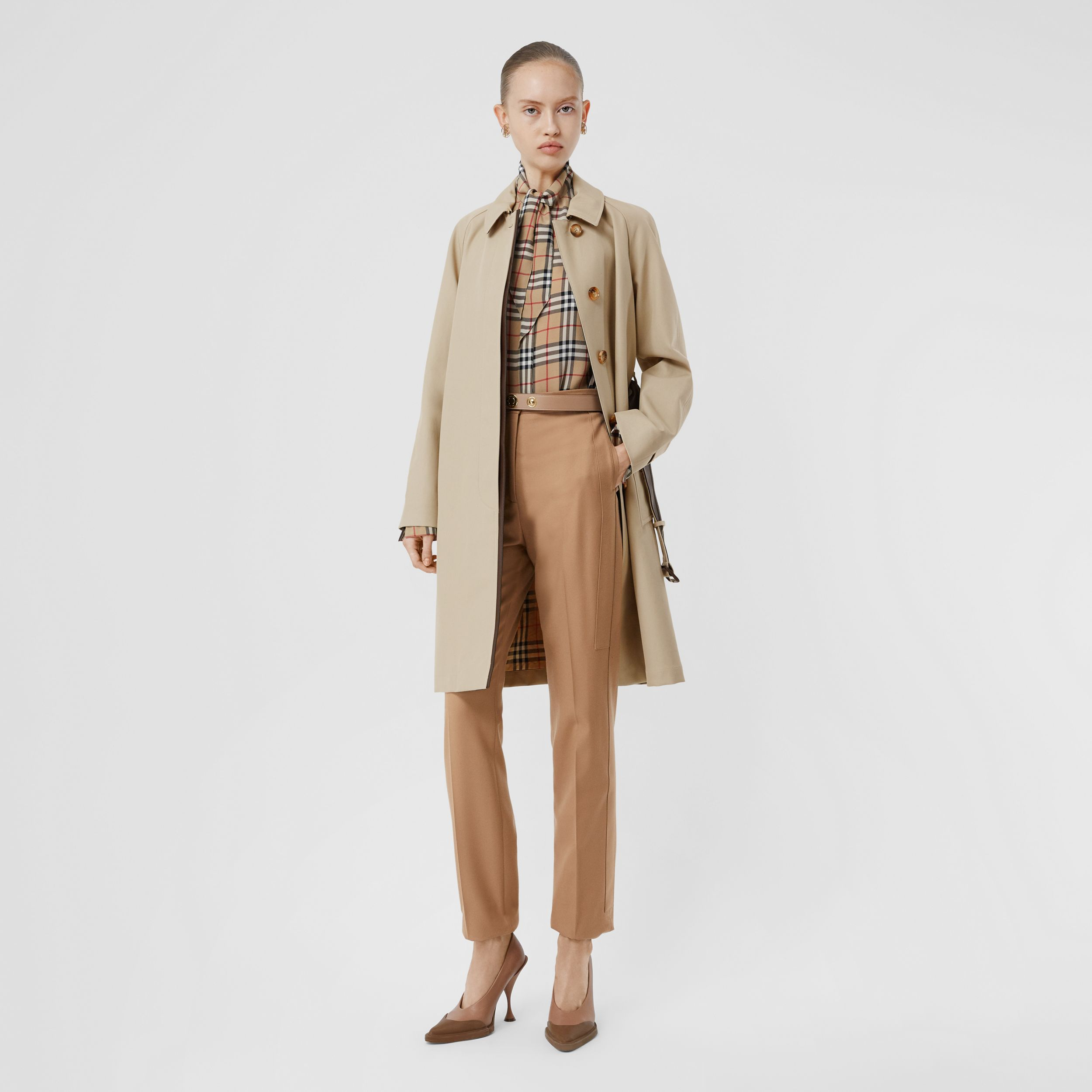 Lambskin Trim Cotton Gabardine Belted Car Coat in Stone - Women | Burberry - 1