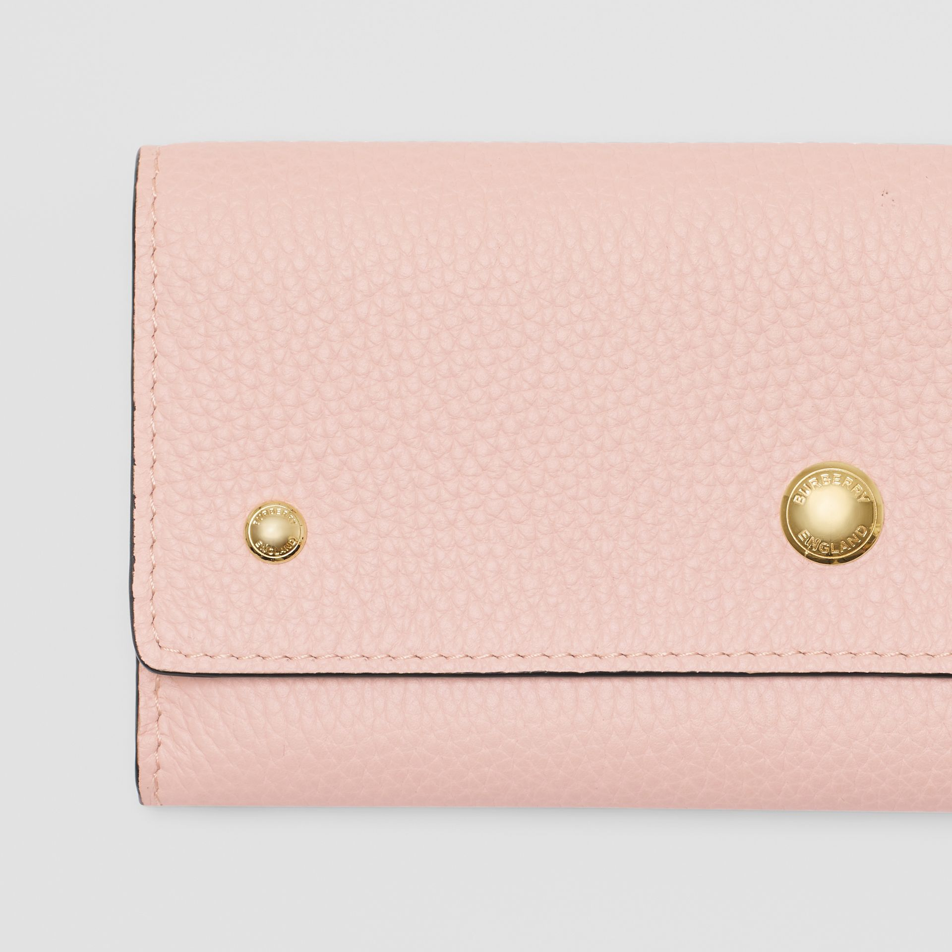 Grainy Leather Continental Wallet in Pale Ash Rose - Women | Burberry - gallery image 1
