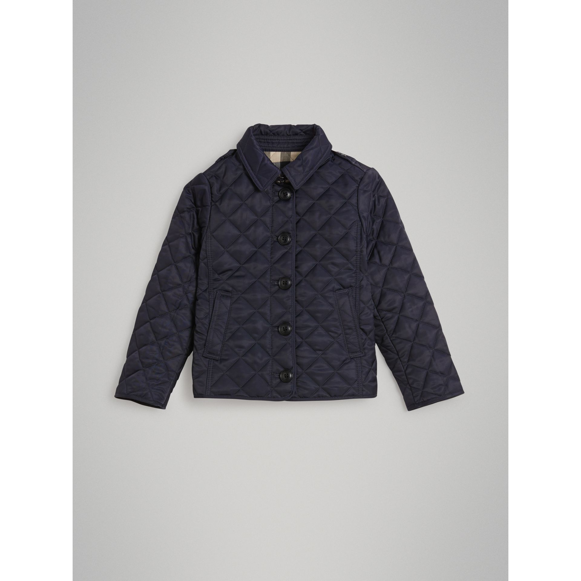 Check Lined Diamond Quilted Jacket in Navy - Girl | Burberry - gallery image 0