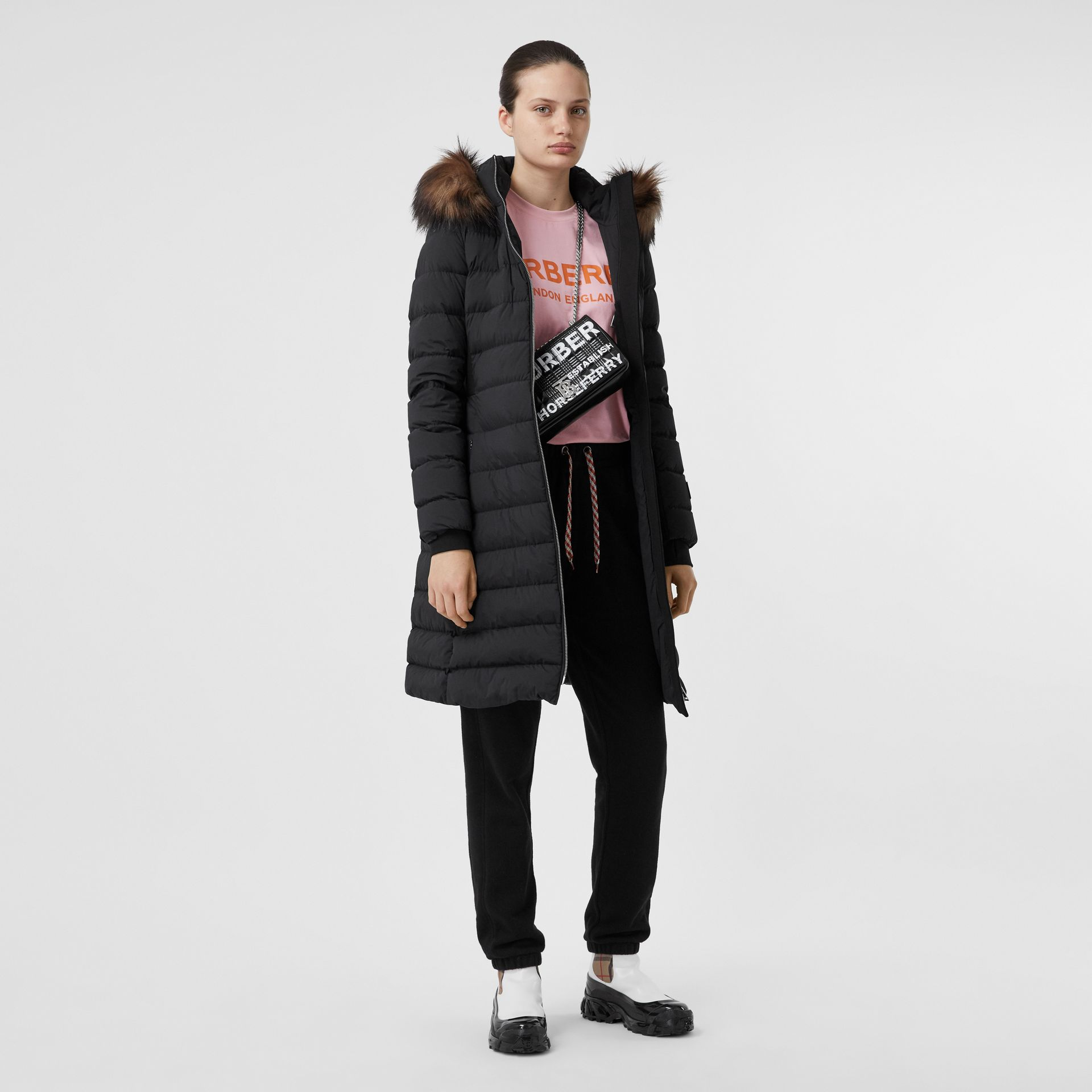 Detachable Faux Fur Trim Hooded Puffer Coat in Black - Women | Burberry - gallery image 0