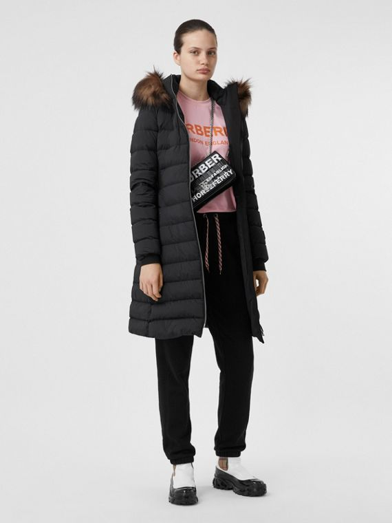 Detachable Faux Fur Trim Hooded Puffer Coat in Black