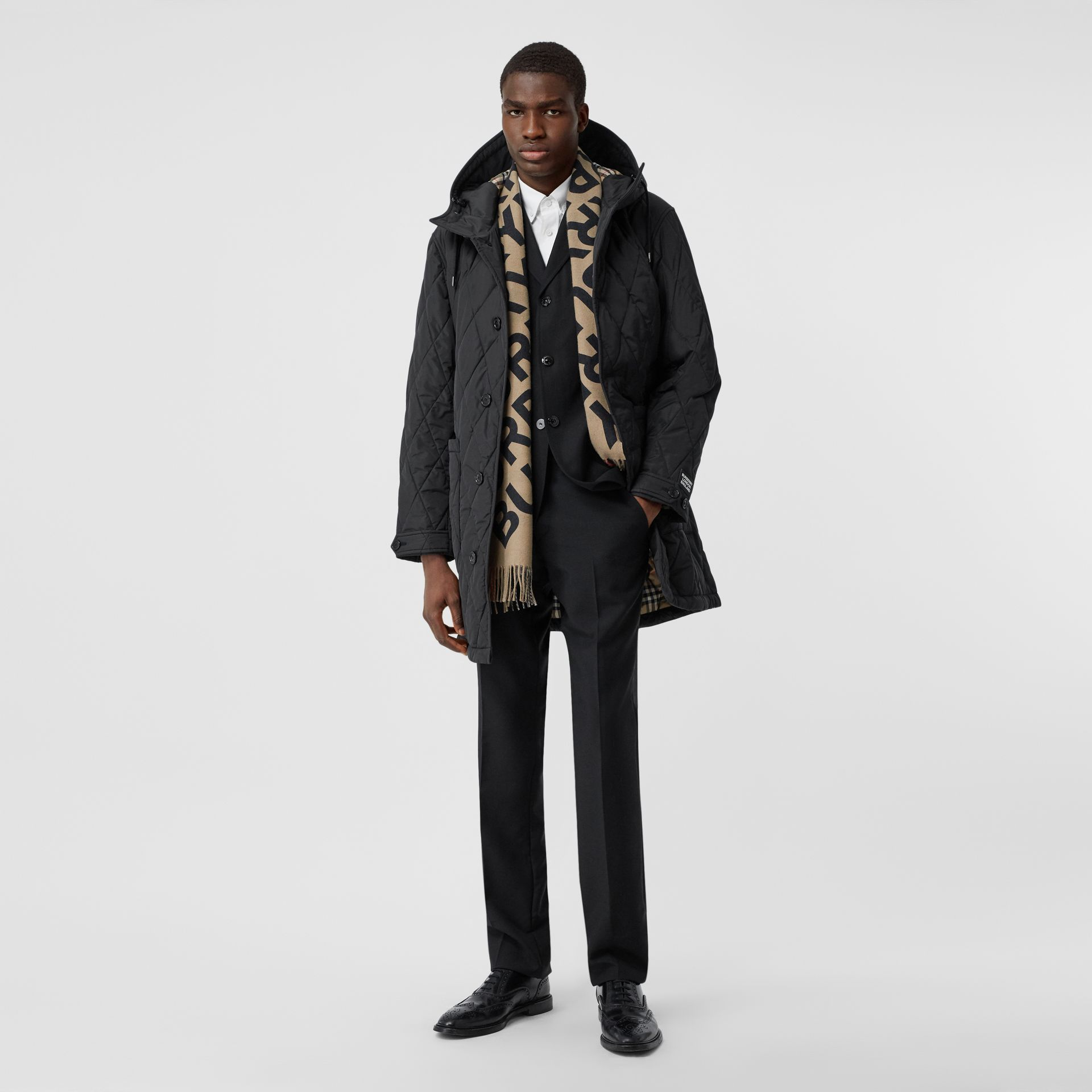 Diamond Quilted Thermoregulated ECONYL® Coat in Black - Men | Burberry United Kingdom - gallery image 0